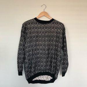 Black and Cream Textured Sweater